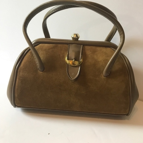 Vintage Handbags - Vintage satchel, brown suede